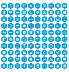100 clock icons set blue vector