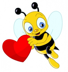 Cute bee valentine's vector
