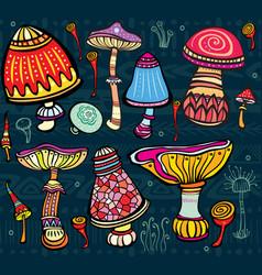 set of stylized mushrooms vector image