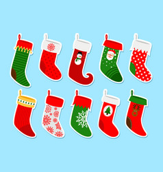 Christmas socks stickers vector