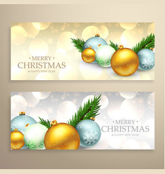 Christmas banners set with realistic xmas balls vector