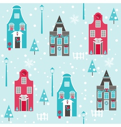 Seamless Christmas House Background vector image
