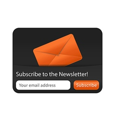 Newsletter form with orange envelope vector