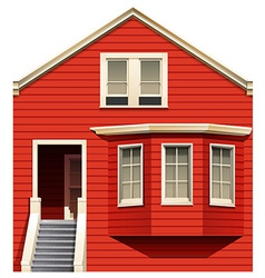A red house with stairs vector
