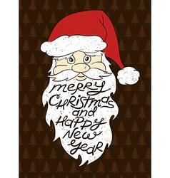 Portrait of santa claus with greeting text vector