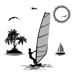 Sportsmen Surfer and Tropical Objects vector image