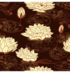 Seamless pattern with a water lily vector