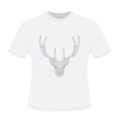 White t-shirt with polygonal haed of deer vector image
