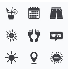 Beach holidays icons cocktail human footprints vector