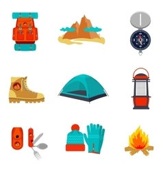 Set of camping equipment icons and symbols vector