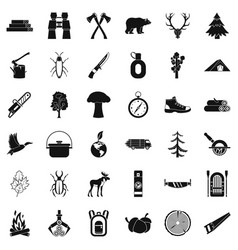 bear icons set simple style vector image