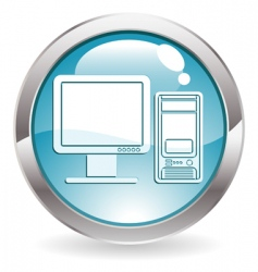button with computer vector image vector image