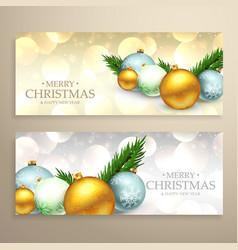 Christmas banners set with realistic xmas balls vector