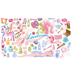 colored doodle beauty fashion elements set vector image vector image