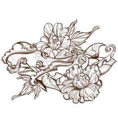 contour image of stylized whale with peonies vector image vector image