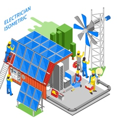 Electrician people isometric composition vector