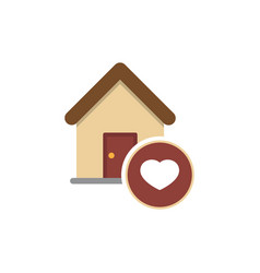 Family house flat icon house with heart inside vector