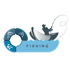 fishermen in a boat with infographics vector image vector image
