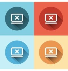 Flat cancel icon inside monitor vector