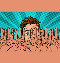 Frightened man is protected by hands vector