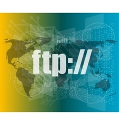 Ftp word on digital screen global communication vector
