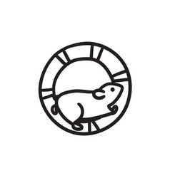 Hamster running in the wheel sketch icon vector