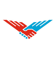 handshake wings bird vector image vector image