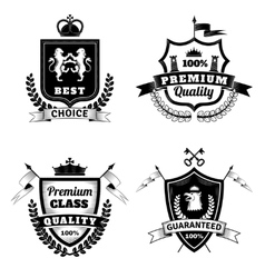 Heraldic best choice emblems set vector
