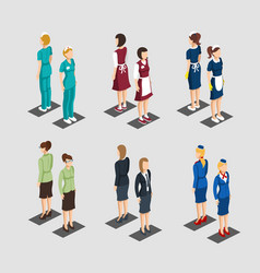 isometric female characters professions collection vector image