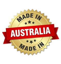 made in Australia gold badge with red ribbon vector image