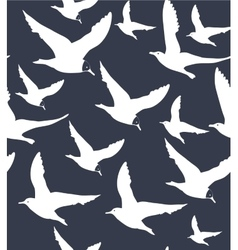 Navy blue background with white seagulls vector