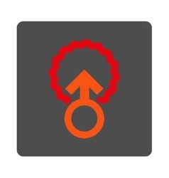 Ovum penetration rounded square button vector