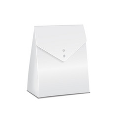 Realistic white 3d model cardboard take away food vector
