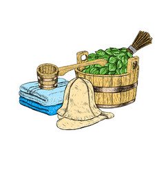 Set for sauna hand drawn items for bath vector