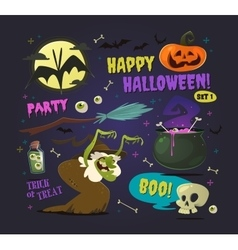 Set of cartoon halloween elements vector image vector image