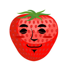 strawberry sleep emoji red berry asleep emotion vector image vector image
