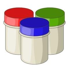 Three jars with gouache icon cartoon style vector