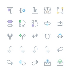 User interface colored line icons 22 vector
