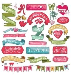 Valentines day setLabels emblemsribbonsbanners vector image