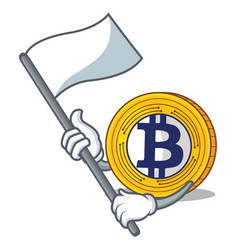 With flag bitcoin gold character cartoon vector