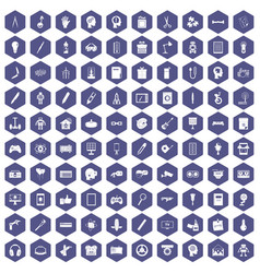 100 creative idea icons hexagon purple vector