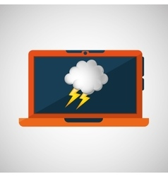 Laptop technology weather forecast cloud vector