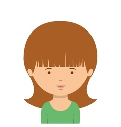 Half body woman with green t-shirt vector