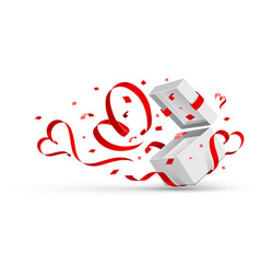 Open gift with hearts vector