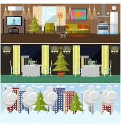 Set of banners with home restaurant vector