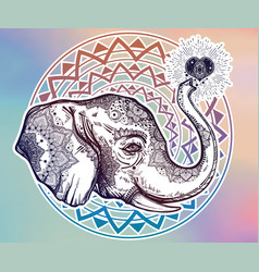 Decorative profile elephant profile with heart vector