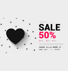Trend flyer with a black heart and shadow fo vector