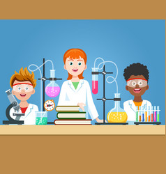 pupils in chemistry lab vector image