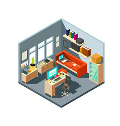 Isometric home office interior 3d workspace with vector