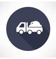 Truck with the ground icon vector